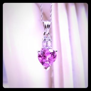 Jewelry - NWOT Pink Ice Heart Pendant w 10K White Gold Chain
